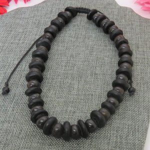 Adjustable Choker Black and Brown Beaded Necklace